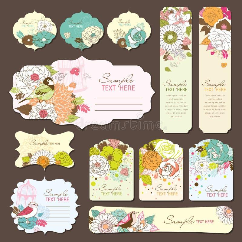 Diseño de la etiqueta de la tarjeta y del regalo de felicitación libre illustration