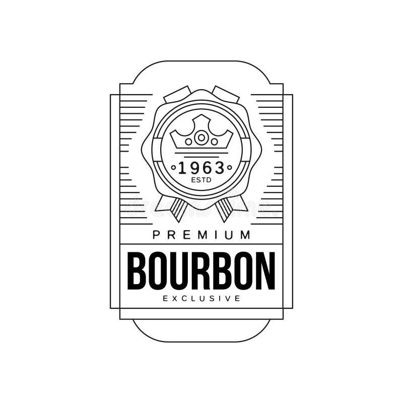 Diseño de la etiqueta del vintage de Borbón, estd superior 1963, vector monocromático del emblema de la bebida fuerte de la insig ilustración del vector