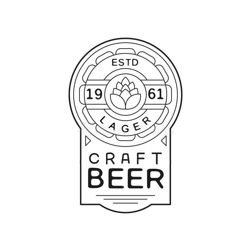 Diseño de la etiqueta del vintage de la cerveza del arte, estd 1961, ejemplo monocromático del emblema de la cerveza dorada del v stock de ilustración