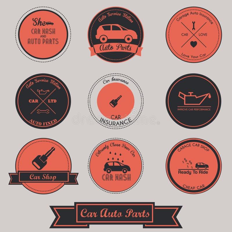Diseño de la etiqueta del vintage de las piezas de automóvil del coche stock de ilustración