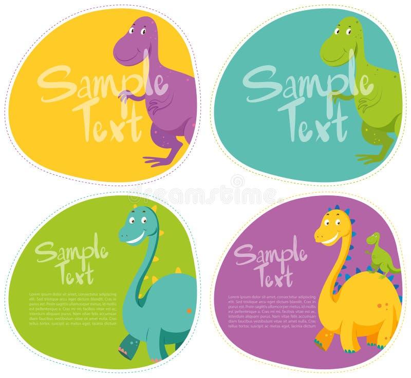 Diseño de la etiqueta engomada con el dinosaurio lindo ilustración del vector