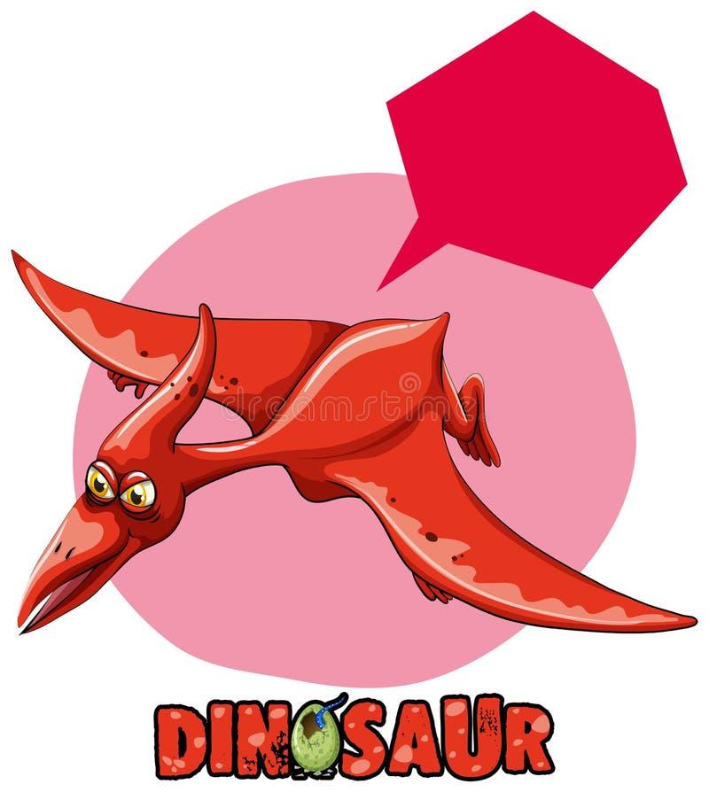 Diseño de la etiqueta engomada con el vuelo del pterasaur del dinosaurio ilustración del vector
