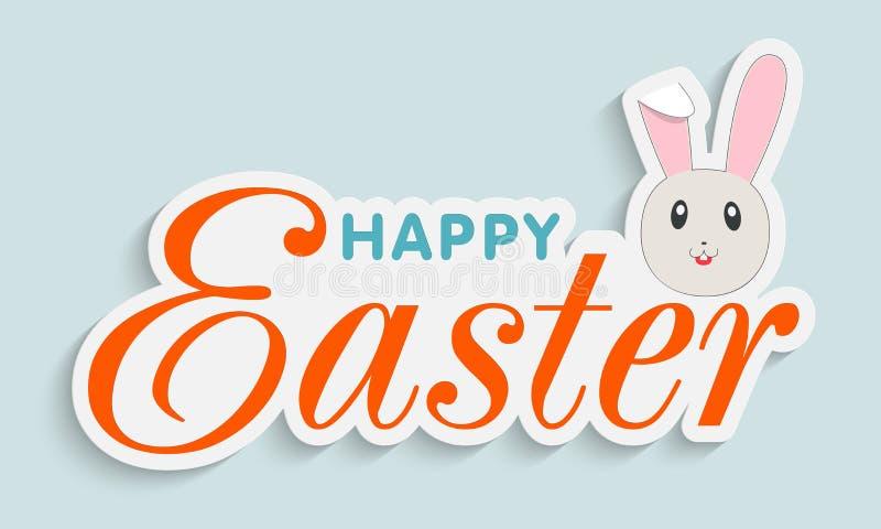 Diseño de la etiqueta engomada, de la etiqueta o de la etiqueta para la celebración feliz de Pascua ilustración del vector