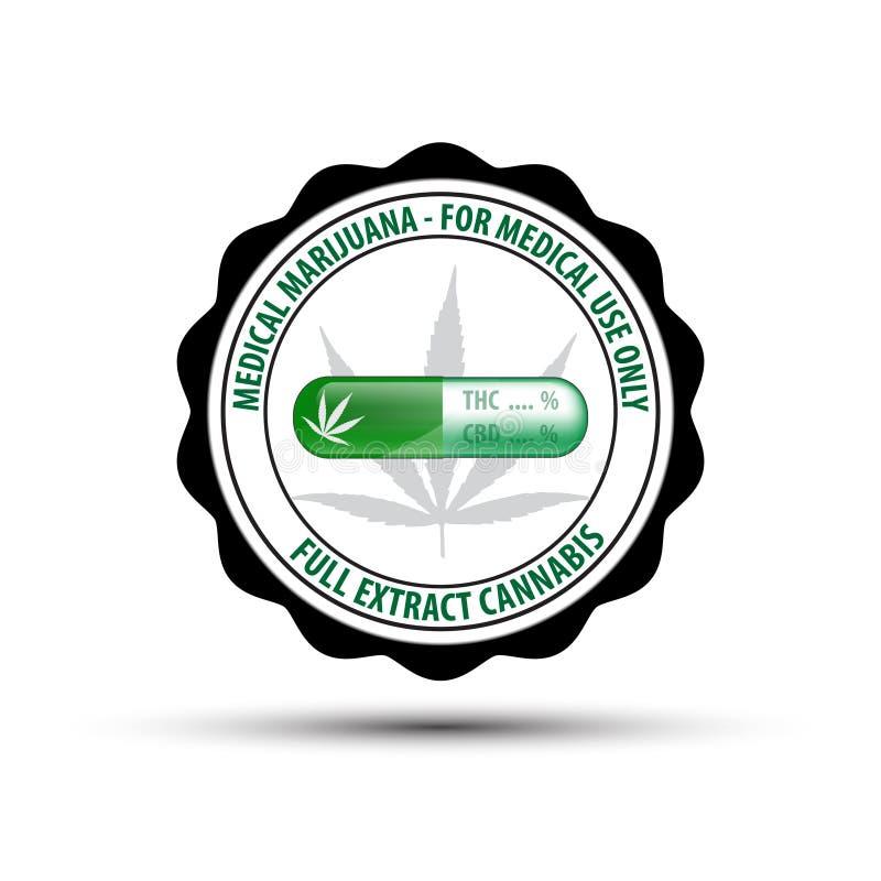 diseño de la etiqueta engomada del símbolo de la muestra del concepto de la atención sanitaria del uso médico de la marijuana ilustración del vector