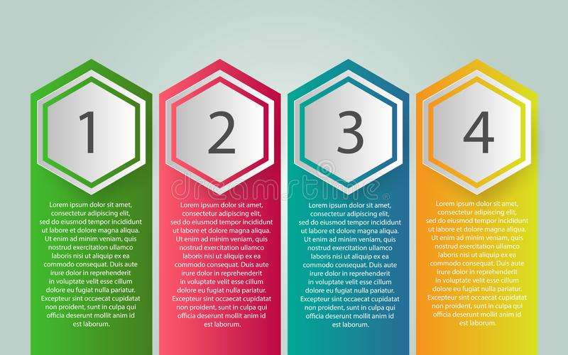 Diseño de la etiqueta de Infographic del vector con los iconos y 4 opciones o pasos stock de ilustración