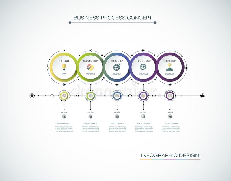 Diseño de la etiqueta de Infographic del vector con los iconos y 5 opciones o pasos Infographics para el concepto del negocio ilustración del vector