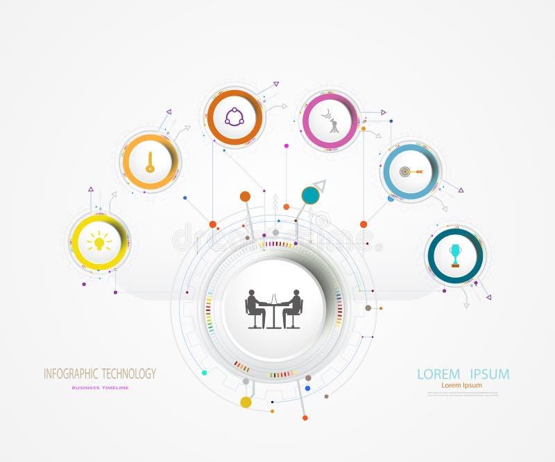Diseño de la etiqueta de Infographics del vector con el icono y la opción 6 o el paso stock de ilustración