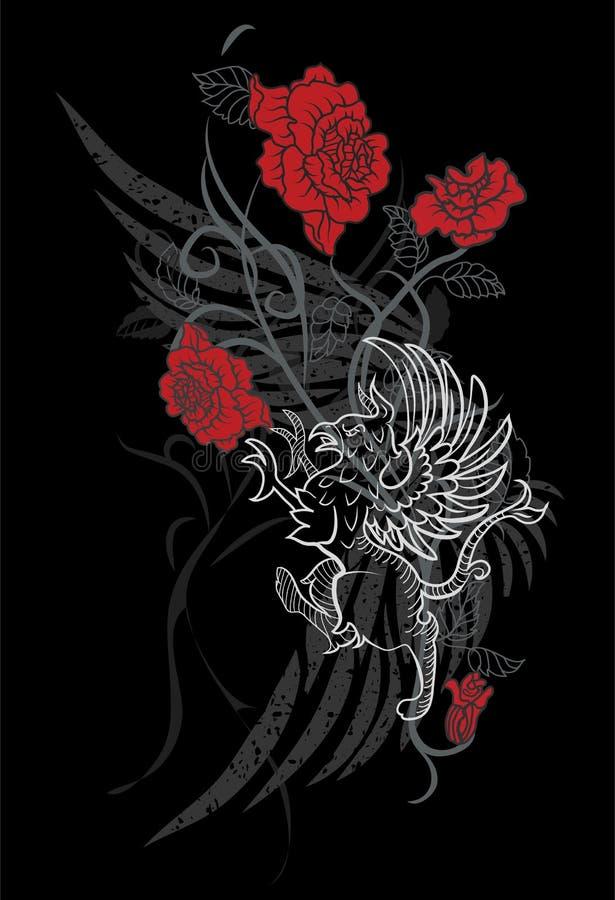Diseño de la fantasía con el gryphon y las rosas stock de ilustración