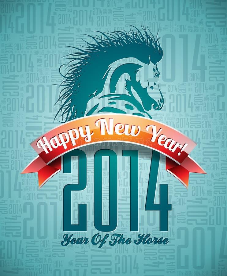 Diseño de la Feliz Año Nuevo 2014 de VectorVector con el caballo y la cinta libre illustration