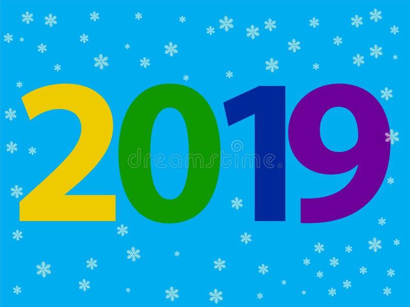 Diseño de la Feliz Año Nuevo del vector 2019 con el texto en el fondo blanco stock de ilustración
