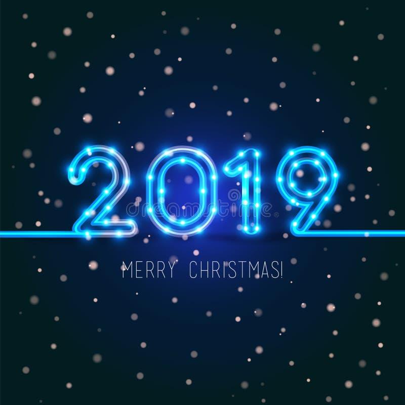 Diseño de la Feliz Navidad 2019 stock de ilustración