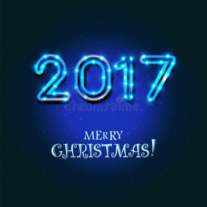 Diseño de la Feliz Navidad 2017 stock de ilustración