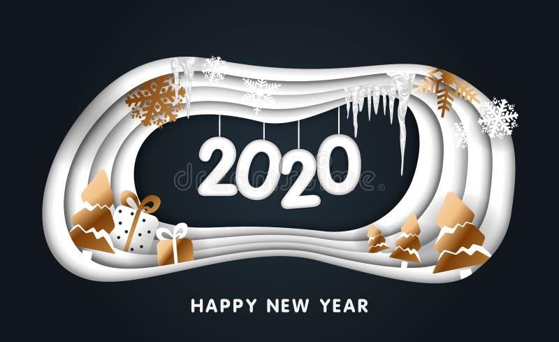 Diseño de la Feliz Navidad feliz creativa y del Año Nuevo 2020 Arte del papel de la Feliz Año Nuevo 2020 del bosque del invierno  ilustración del vector