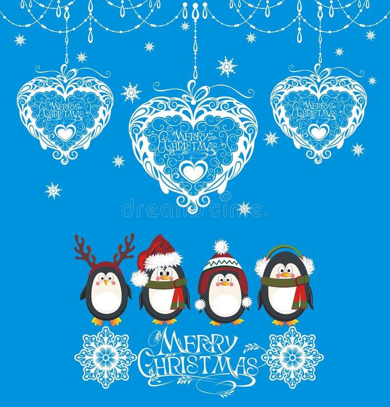 Diseño de la Feliz Navidad y de la Feliz Año Nuevo stock de ilustración