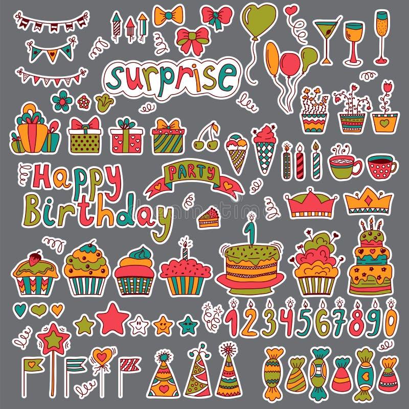 Diseño de la fiesta de cumpleaños Elementos dibujados mano linda en backgrou gris ilustración del vector