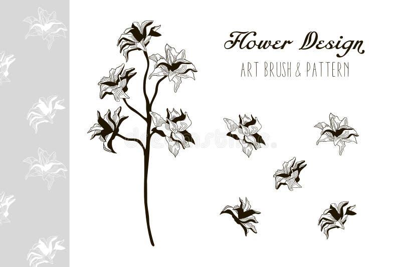 Diseño de la flor Art Brush y modelo Ilustración del vector stock de ilustración