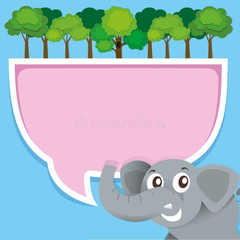 Diseño de la frontera con el elefante y la selva stock de ilustración