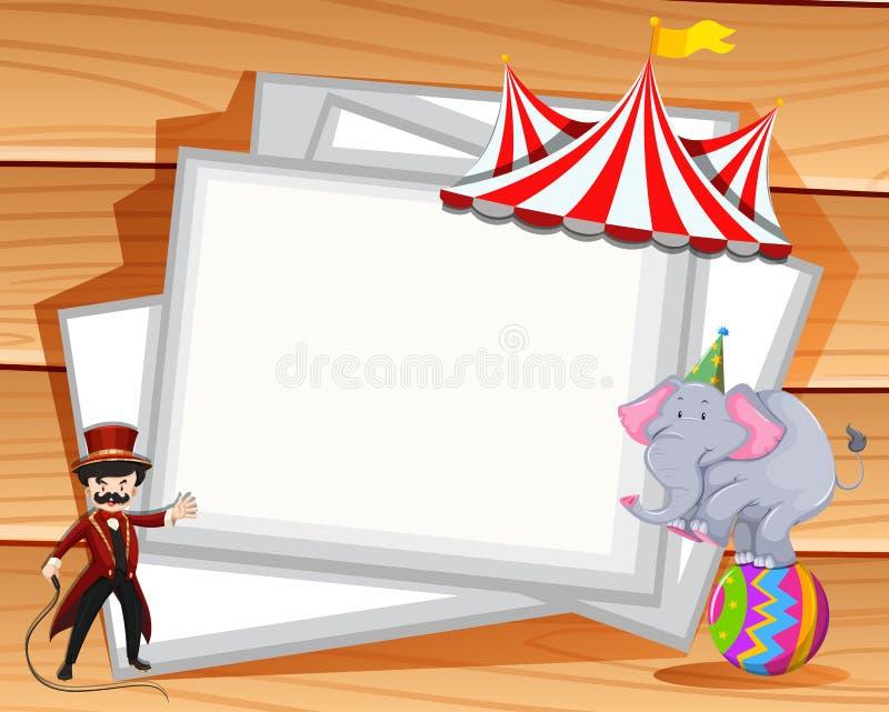 Diseño de la frontera con la demostración del elefante en el circo stock de ilustración