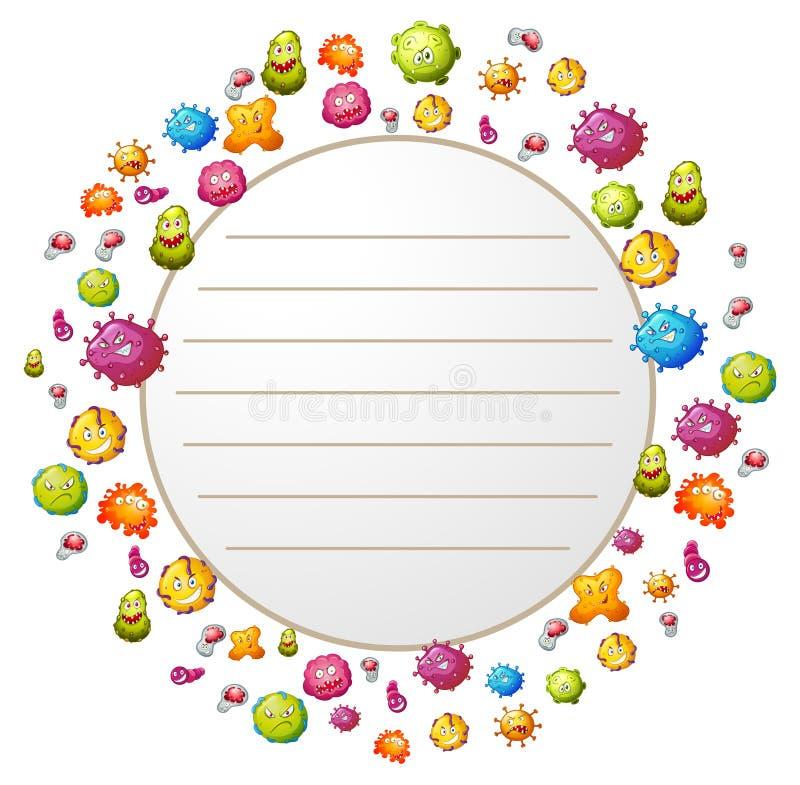 Diseño de la frontera con las bacterias stock de ilustración