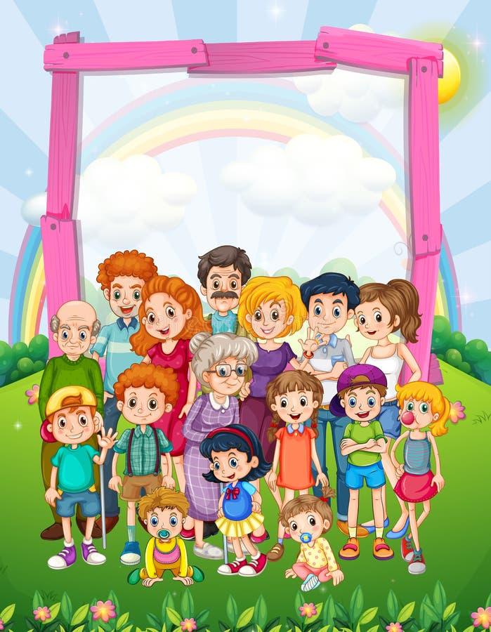 Diseño de la frontera con los miembros de la familia en el parque ilustración del vector