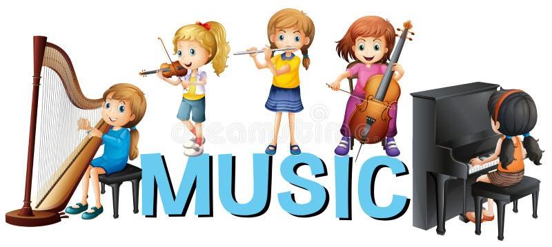 Diseño de la fuente con las muchachas que juegan música libre illustration