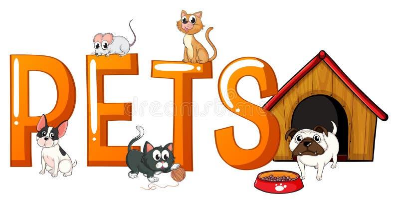 Diseño de la fuente con los animales domésticos de la palabra ilustración del vector