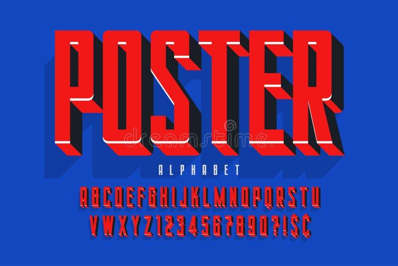 Diseño de la fuente de la exhibición de la protesta, alfabeto, juego de caracteres stock de ilustración