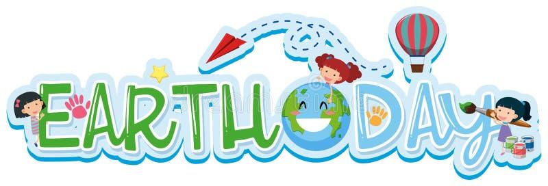 Diseño de la fuente para el Día de la Tierra de la palabra stock de ilustración