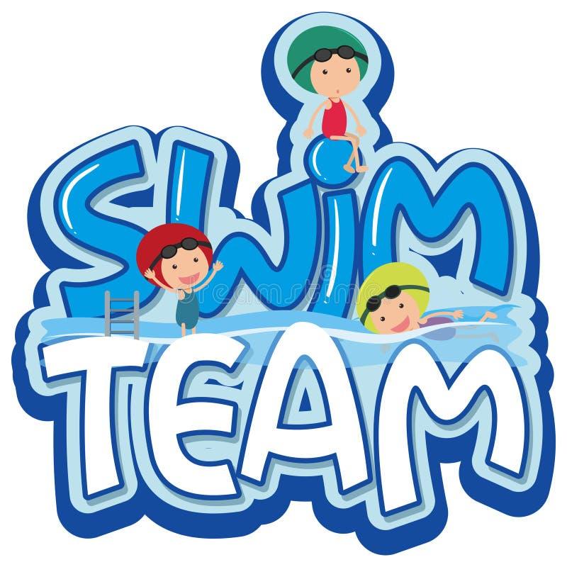 Diseño de la fuente para el equipo de natación de la palabra con tres nadadores libre illustration