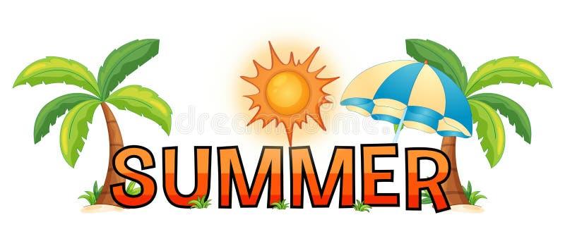 Diseño de la fuente para el verano de la palabra stock de ilustración