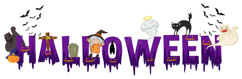 Diseño de la fuente para la palabra Halloween stock de ilustración