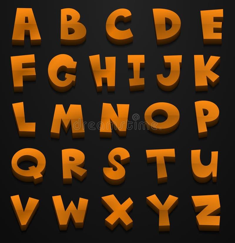 Diseño de la fuente para los alfabetos ingleses en color marrón ilustración del vector