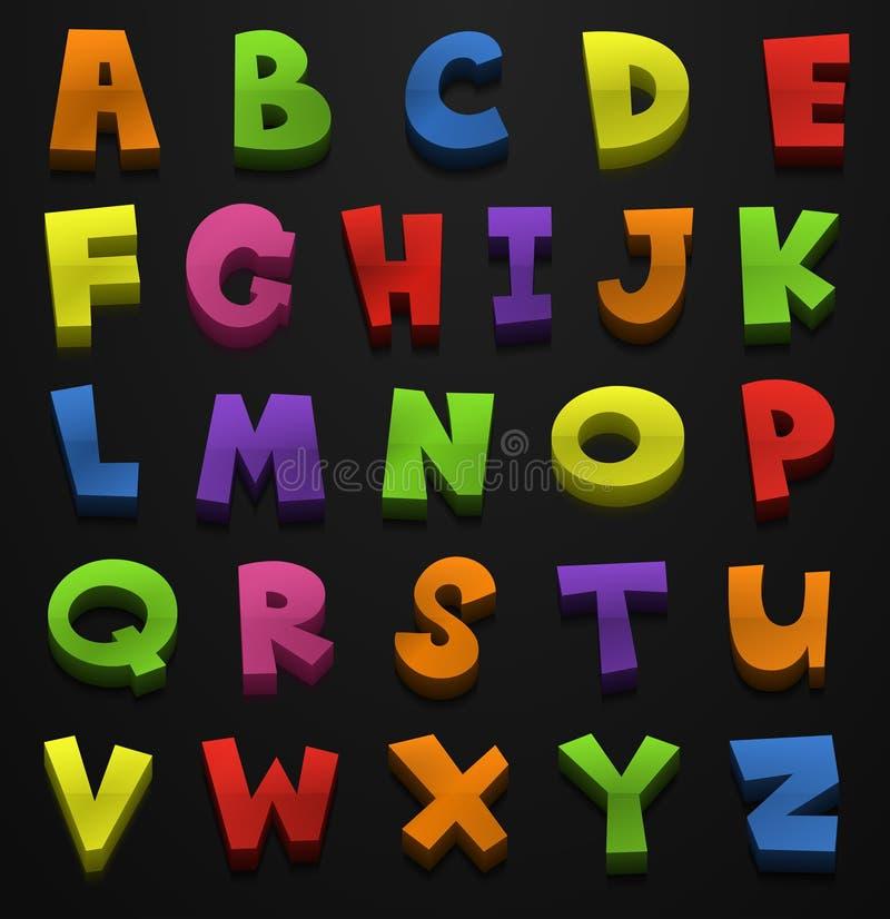 Diseño de la fuente para los alfabetos ingleses en muchos colores stock de ilustración