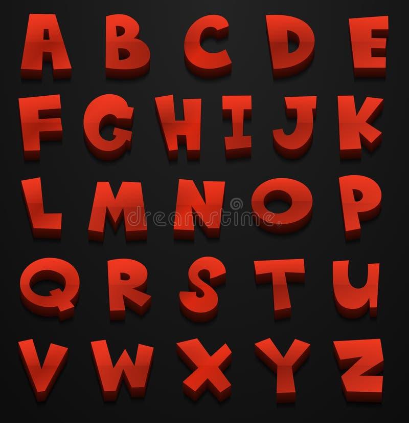 Diseño de la fuente para los alfabetos ingleses en rojo libre illustration