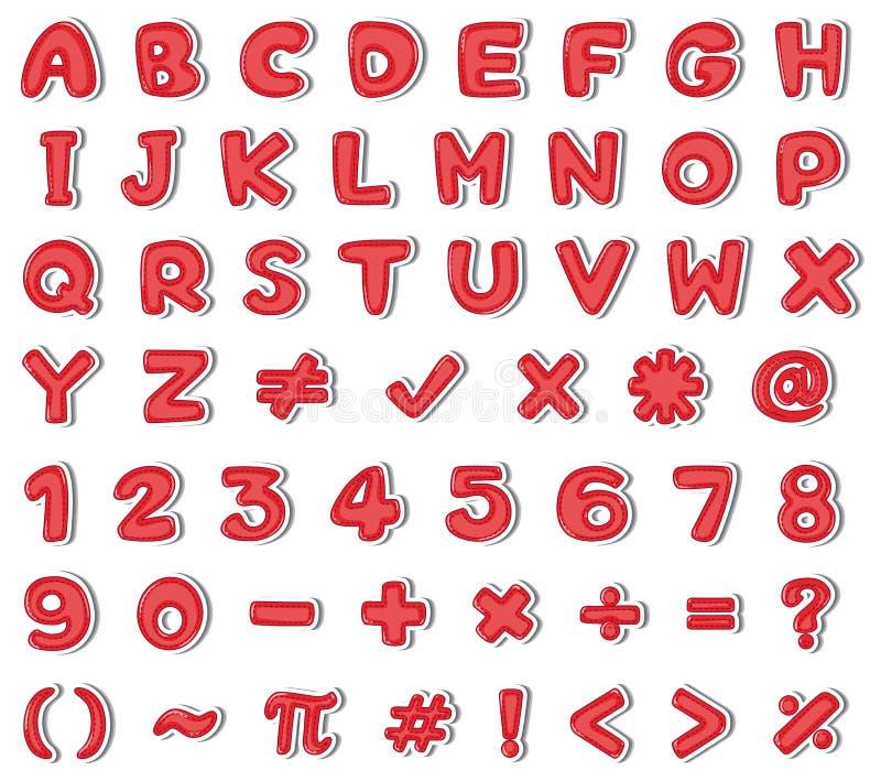 Diseño de la fuente para los alfabetos ingleses y los números en color rojo ilustración del vector