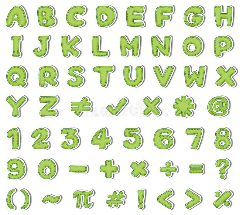 Diseño de la fuente para los alfabetos ingleses y los números en color verde stock de ilustración