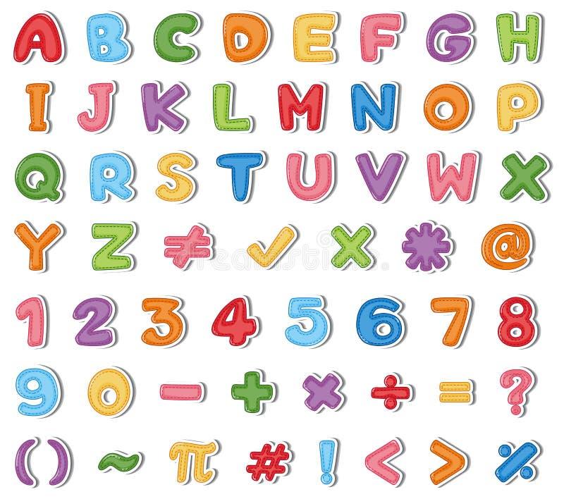 Diseño de la fuente para los alfabetos ingleses y los números en muchos colores stock de ilustración
