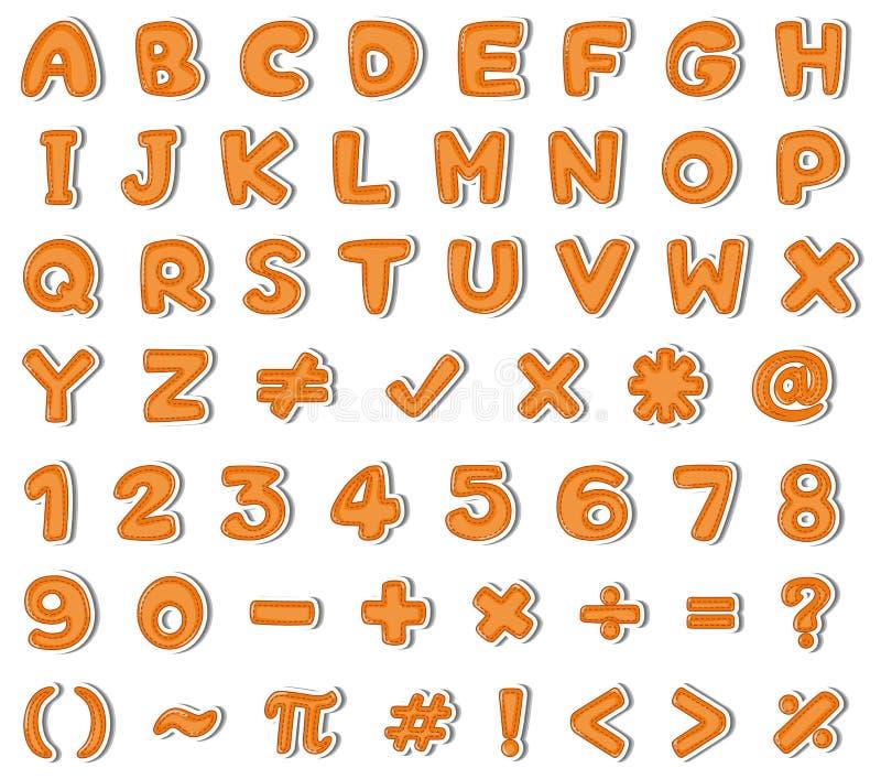 Diseño de la fuente para los alfabetos ingleses y los números en naranja libre illustration