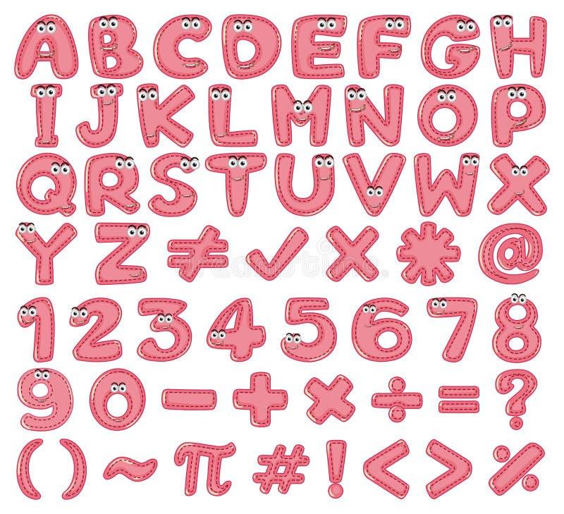 Diseño de la fuente para los alfabetos ingleses y los números en rosa stock de ilustración
