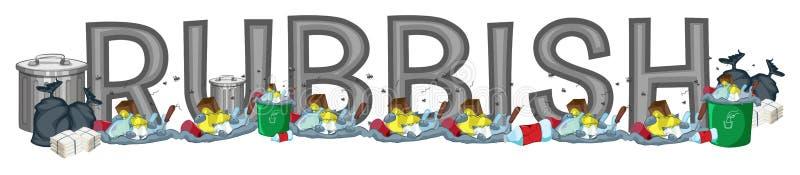 Diseño de la fuente para los desperdicios de la palabra libre illustration