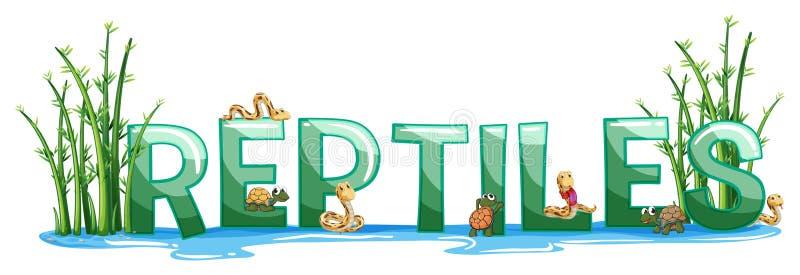 Diseño de la fuente para los reptiles de la palabra libre illustration