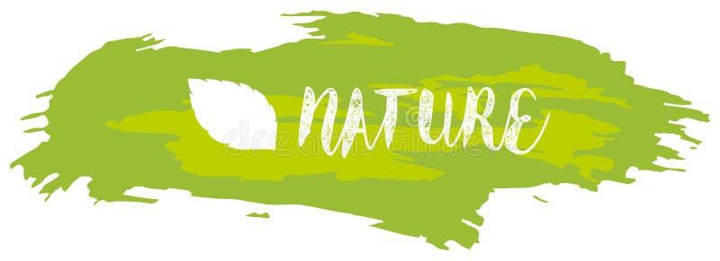 Diseño de la fuente para la naturaleza de la palabra en acuarela verde ilustración del vector