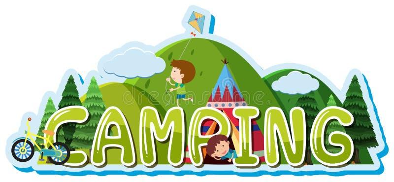 Diseño de la fuente para la palabra que acampa con los niños en tienda libre illustration