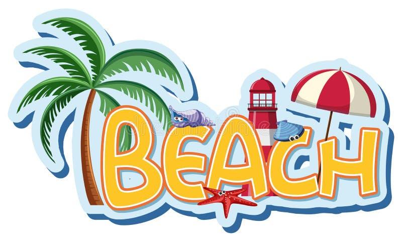 Diseño de la fuente para la playa de la palabra ilustración del vector