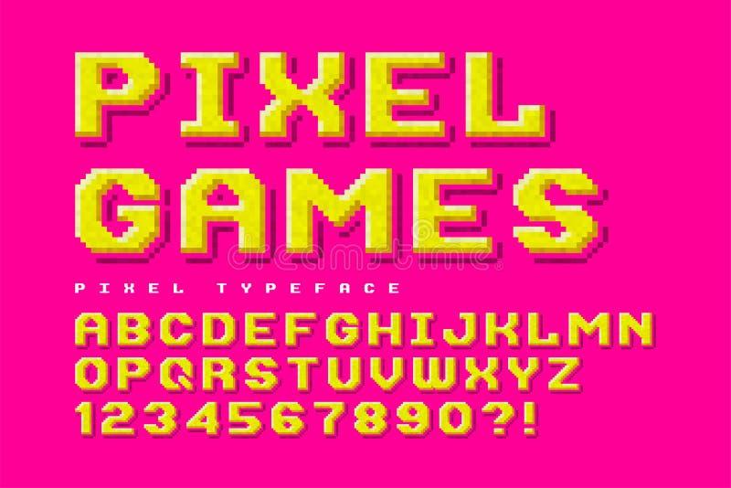 Diseño de la fuente de vector del pixel, estilizado como en juegos de 8 bits ilustración del vector
