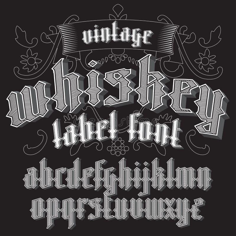 Diseño de la fuente y de muestra de la etiqueta del whisky con la decoración stock de ilustración