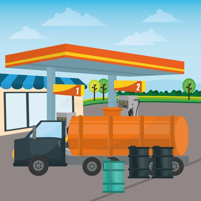 Diseño de la gasolinera stock de ilustración