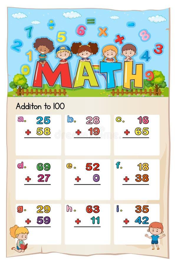 Diseño de la hoja de trabajo de la matemáticas para la adición a 100 ilustración del vector