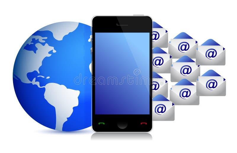 Diseño de la ilustración de los sobres del teléfono del globo stock de ilustración