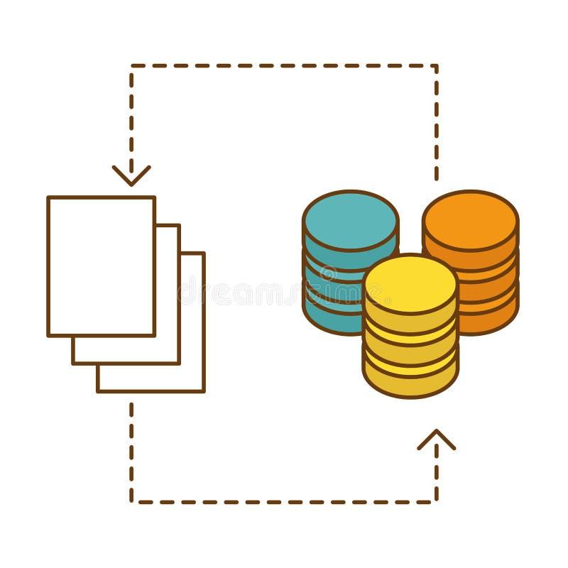 diseño de la imagen del icono de la base de datos distribuida ilustración del vector